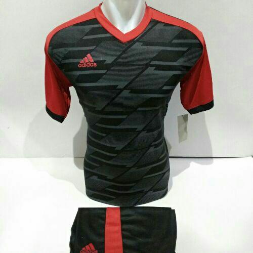 Baju Kaos Olahraga Jersey Setelan Bola Futsal/Volly AD 07 Hitam Merah