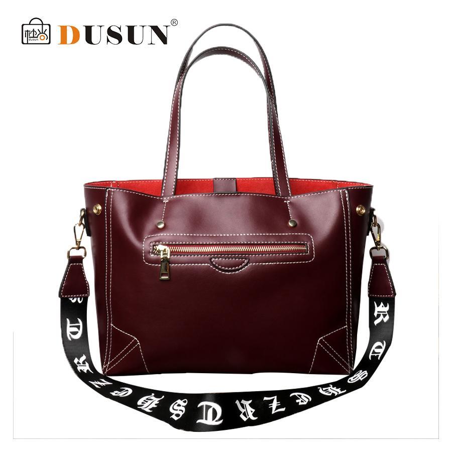 DUSUN Genuine Leather Women Shoulder Bag Fashion Women Printing Shoulder Belt Handbags New Females Solid Smiley Zipper Bolsa Sac - intl