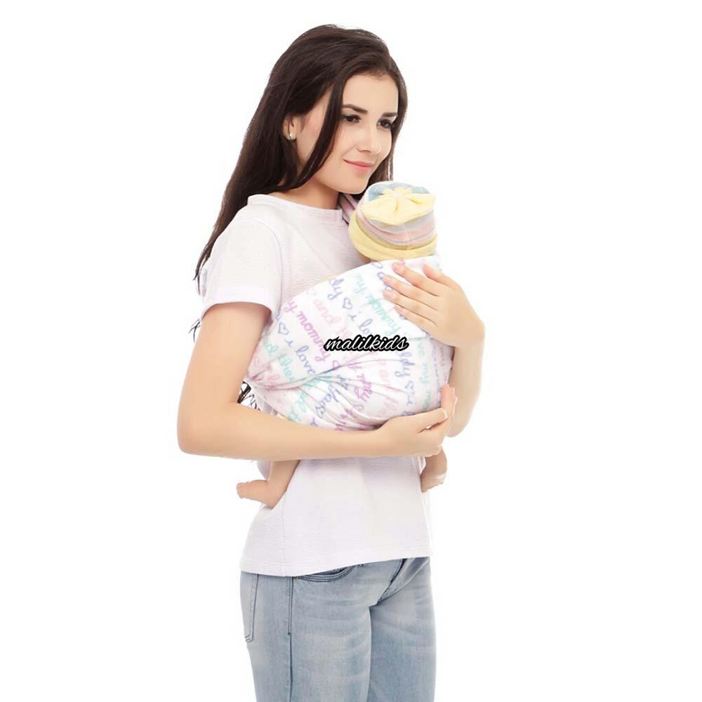 Detail Gambar Gratis Pouch! Size XL - Malilkids Geos / Gendongan Kaos Premium / Gendongan Instan - Model Love Mom Dad Terbaru