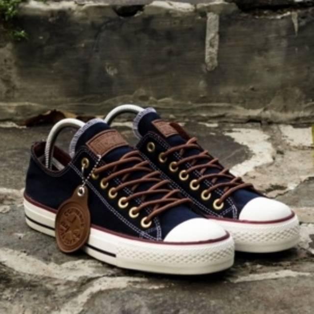 FLASH SALE Sepatu Converse All Star Pria Wanita Cewek Cowok Tali Tan Ct Ox Low Pendek Import Navy