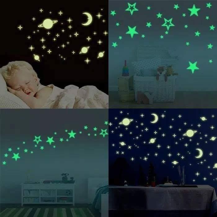 Stiker Dinding Kamar Nyala dalam Gelap / glow in the dark / bintang buatan / romantis