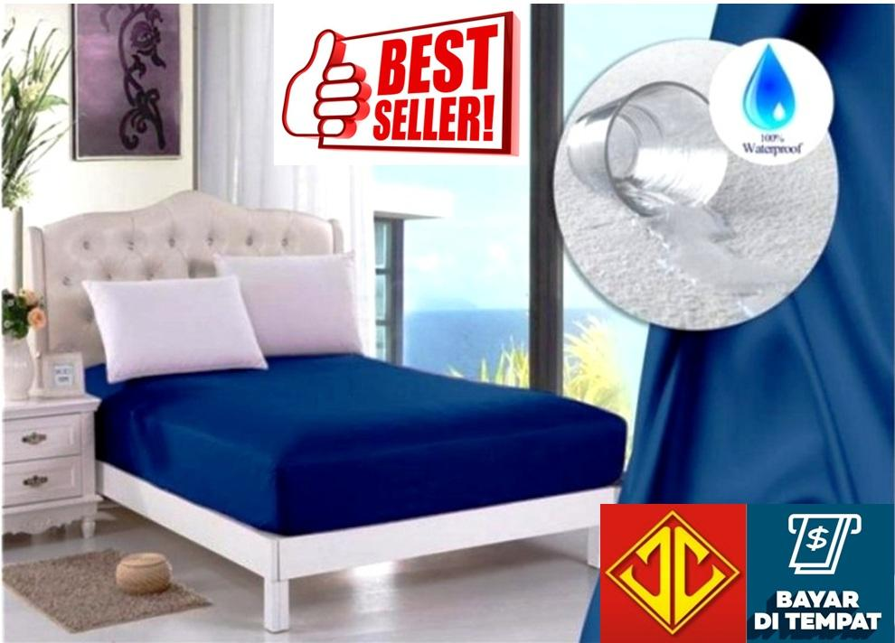 Jaxine Sprei Waterproof Anti Air Biru Tua