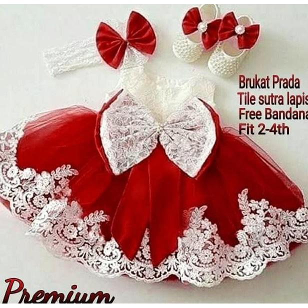 PROMO SALE - 32V-PRINCESS PREMIUM RED - DRESS ANAK PESTA MERAH  F001
