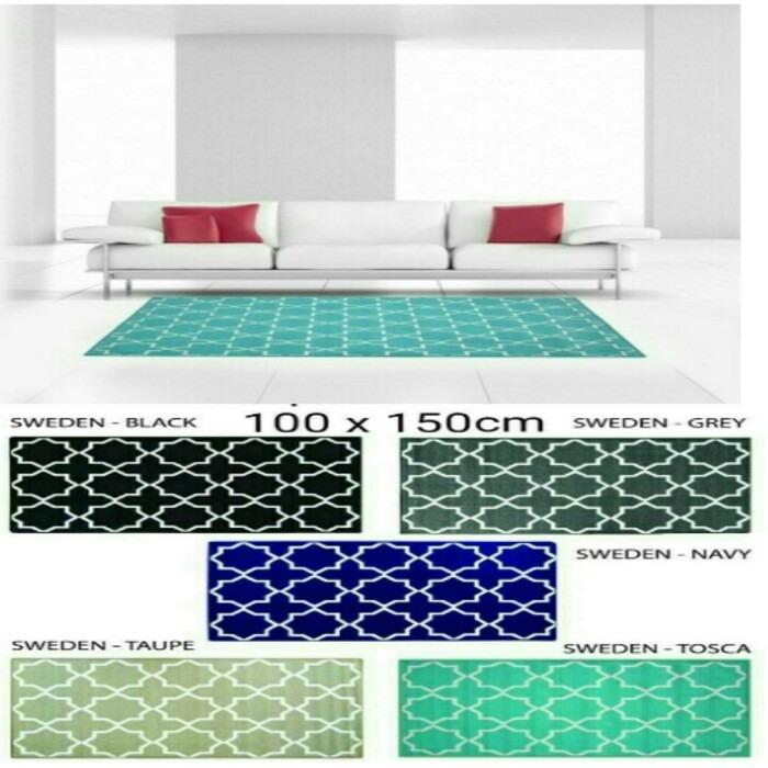 Sale Karpet Lantai Scandinavian Monochrome Antislip 100 x 150 cm - Karpet Sweden Anti Slip Minimalis - Karpet Ruang Tv Kamar Ruang Tamu Bulu tipis