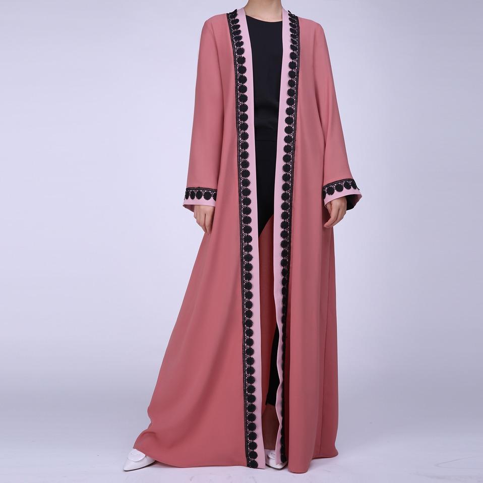 Wanita Kaftan Abaya Pakaian Muslim Terbuka Depan Islam Jilbab Panjang Lengan Besar Mantel Merah