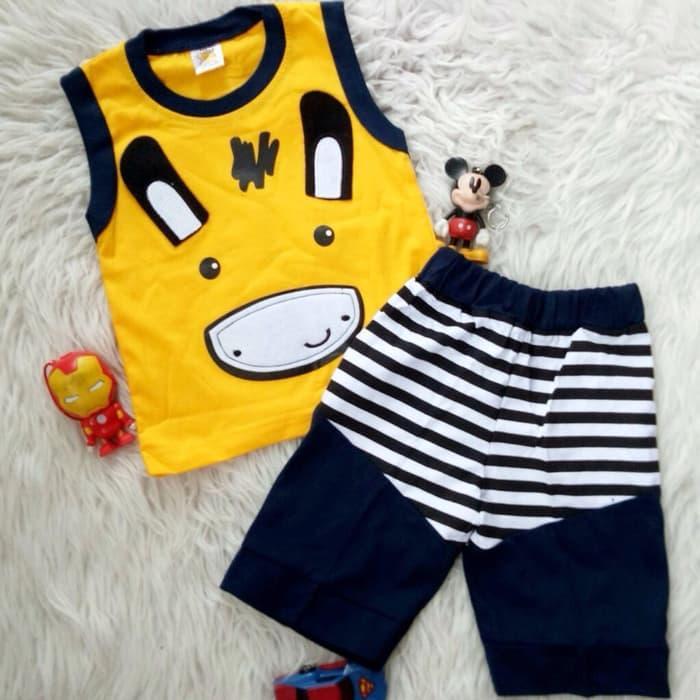 Setelan Baju Celana Bayi Anak - Lengan Buntung Baby Zebra