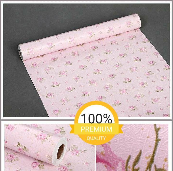 Detail Gambar Grosir murah wallpaper sticker dinding kamar ruang indah bagus cantik elegan pink daun hijau bunga pink Terbaru