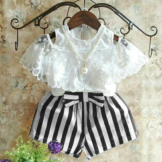 BT Salur Echa Kids Set 2in1 - Atasan brukat import - Celana babytery pita tempel - Fit 3-5th