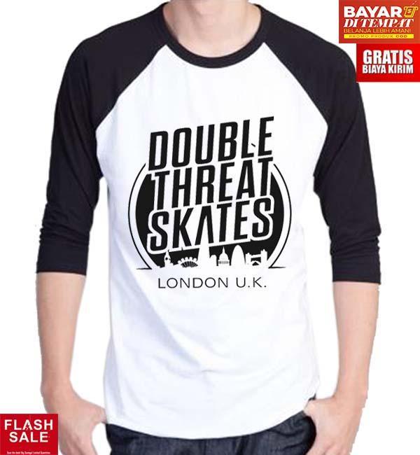 Sz Graphics Double Skates  KAOS DISTRO T Shirt Pria Kaos Raglan Pria T Shirt Fashion Pria Kaos Fash