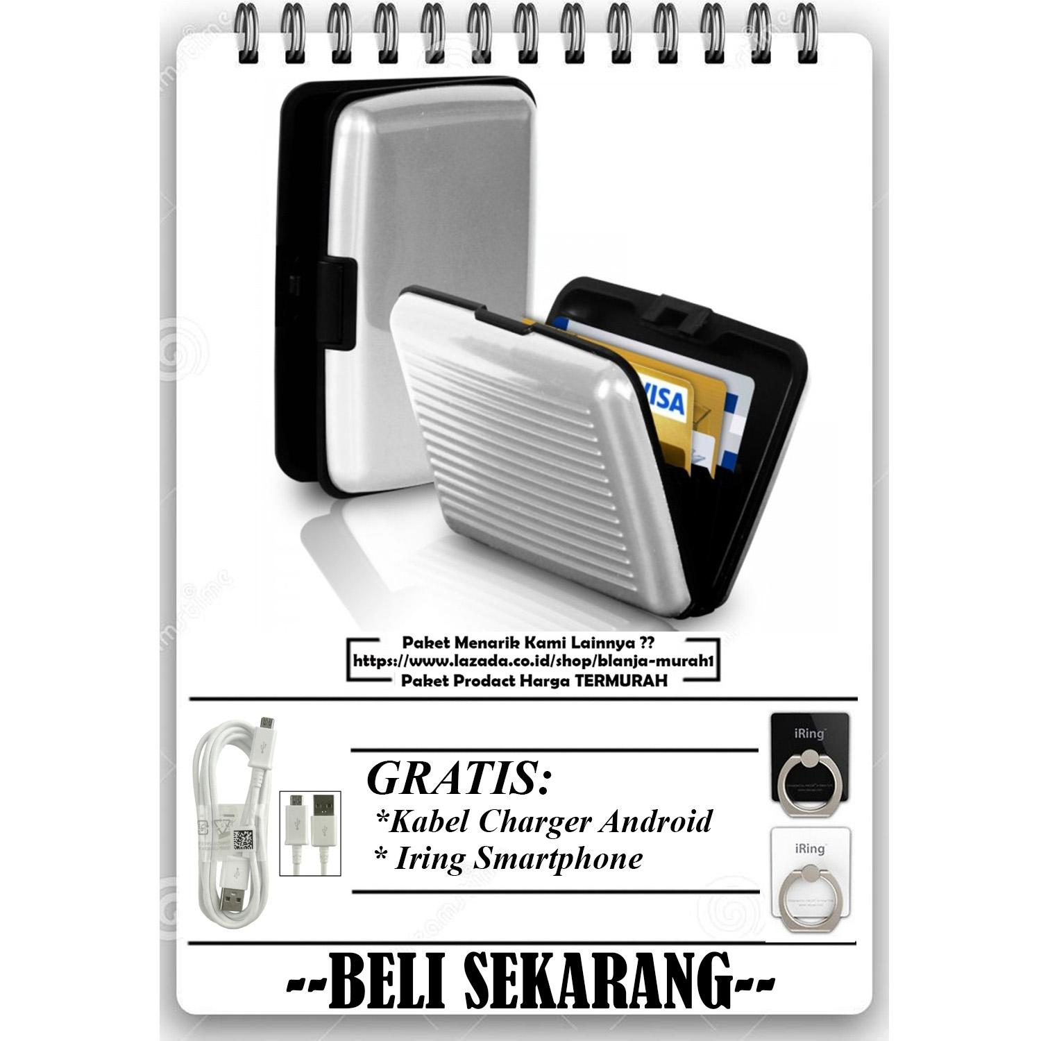 Dompet Kartu Nama / Aluma Wallet / Credit Card Holder / Organizer / Guard (kartu kredit, ATM) - White GRATIS Iring Stand HP & Kabel Charger Micro Android