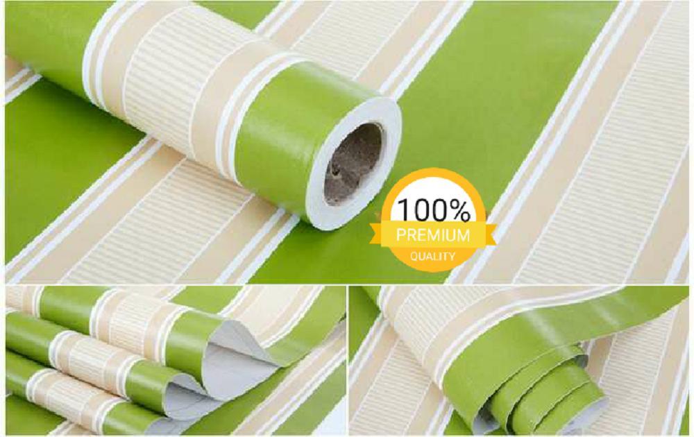 Gambar Produk Rinci Grosir murah wallpaper sticker dinding kamar ruang indah garis hijau putih Terkini