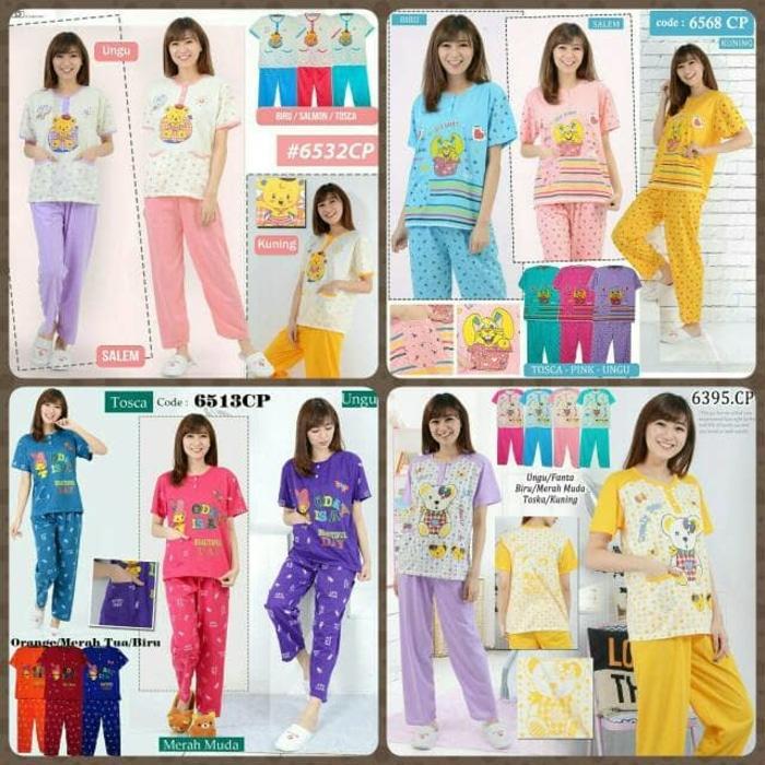 Cek Piyama Baju Tidur Cp Bahan Kaos Baju Pendek Celana Panjang Dan ... 8d9669a95d