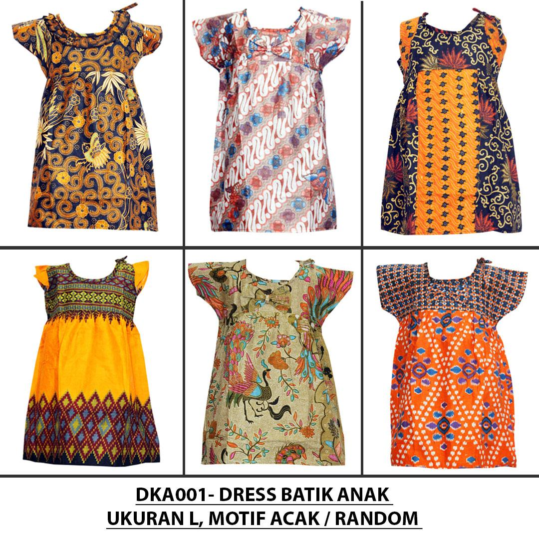 Dress Batik Anak, Baju Tidur Anak, Piyama Anak, Ukuran L, Untuk Usia 3-4 Tahun (DKA002) Batik Alhadi