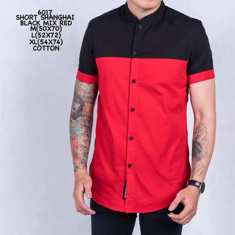 FashionPedia™ - Kemeja Lengan Pendek Pria Terkini - Short Shanghai Black Mix Red (6017)