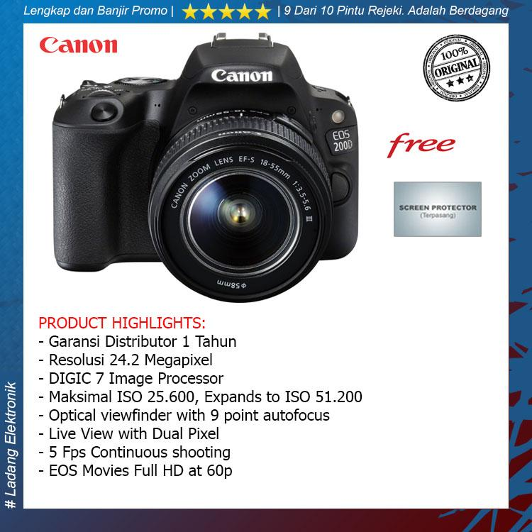 Canon EOS 200D EF-S 18-55mm III ( Free Screenguard Terpasang ) /