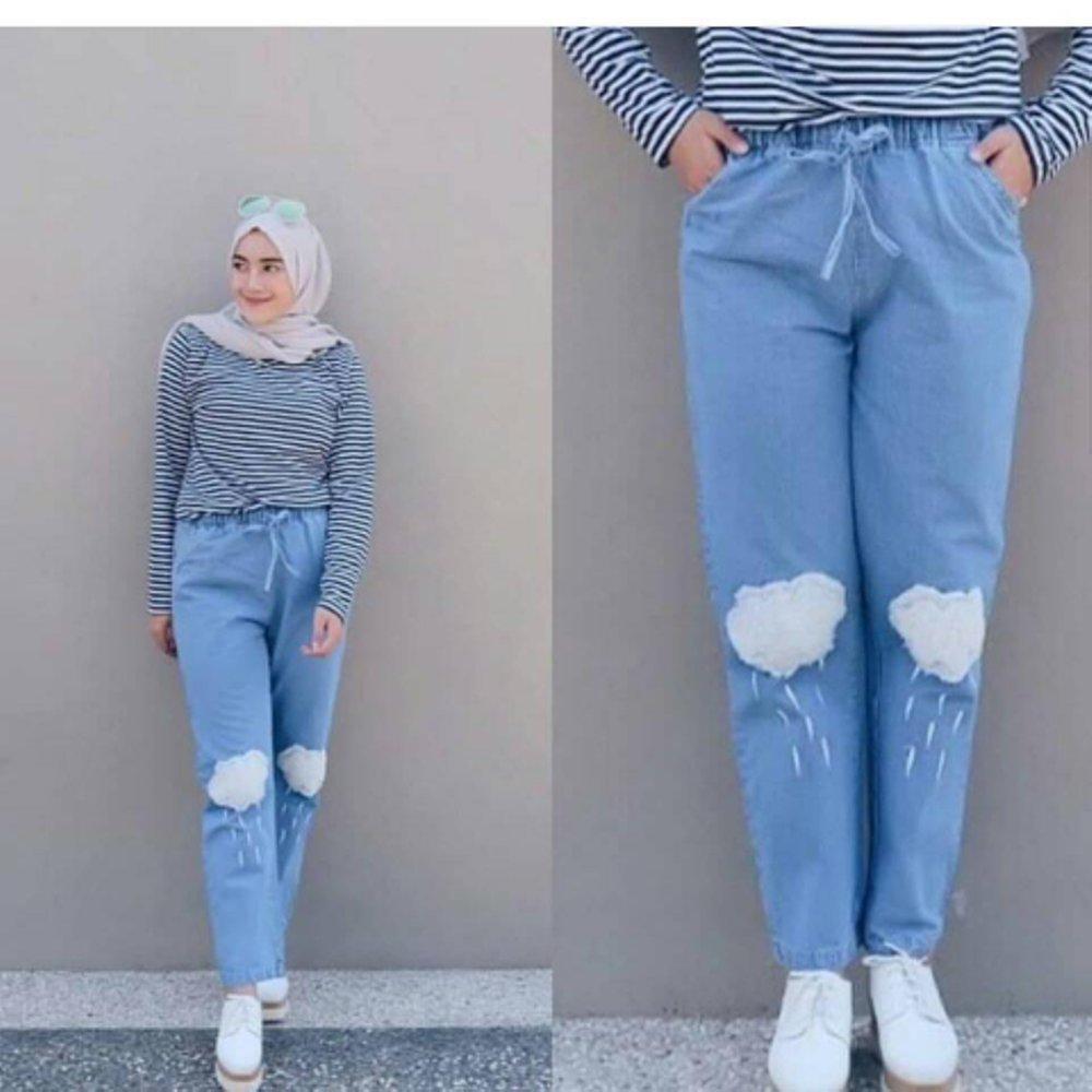 Celana Jeans Baggy Awan - Celana Jeans Panjang Awan Casual Bawahan Simple Wanita Hijab Modern Trendy