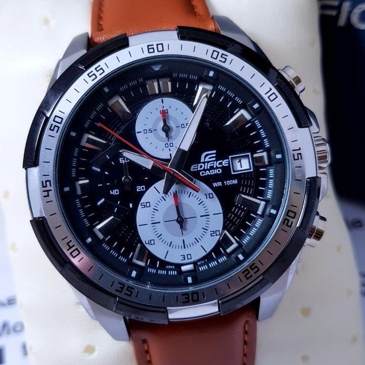 ... Jam Tangan Casio Edifice EF 539L - 1AV Leather Brown Dial Black Series Edition ...