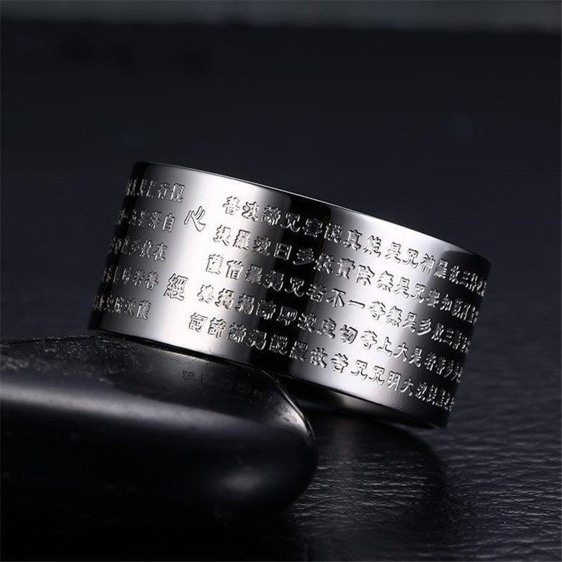 Cincin Perhiasan untuk Wanita dan Pria 316 Liter Anti Karat Berlapis Perak Cincin Kitab Budha Cina-Internasional