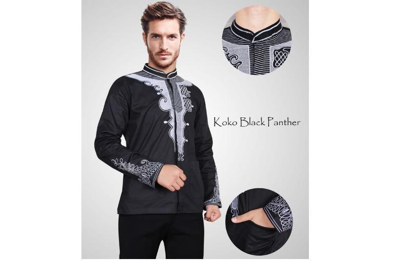 [koko black panther OT] baju koko katun stretch hitam
