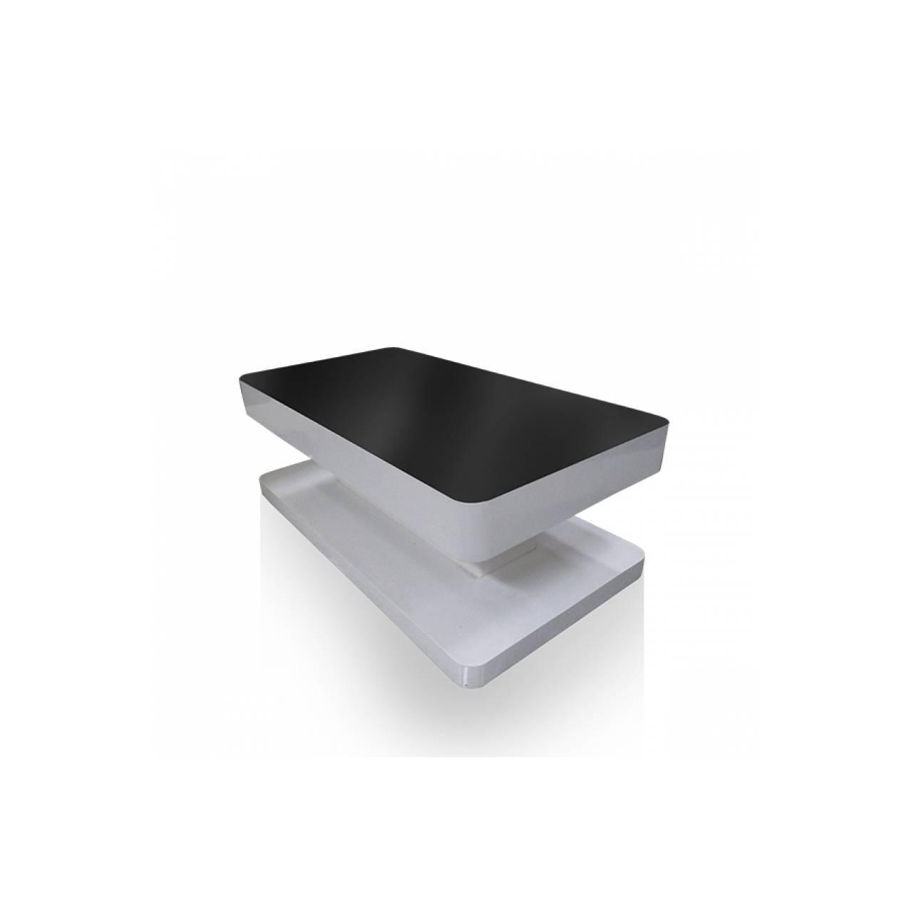 Meja Tamu Persegi Panjang Multiplek LD 03 - Putih Kombinasi Hitam