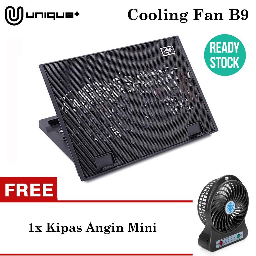 Unique Cooling Pad Laptop Fan Kipas Angin Pendingin Laptop Cooler Coolpad B9 Hitam FREE KIPAS ANGIN MINI FRESH SUMMER RANDOM COLOR
