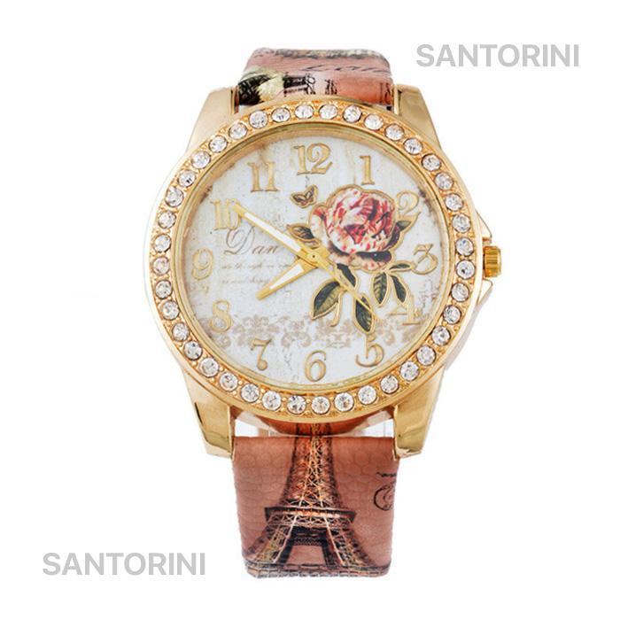 Santorini Jam Tangan Wanita Korea Fashion Vintage Flower Quartz Analog Women Leather Watch