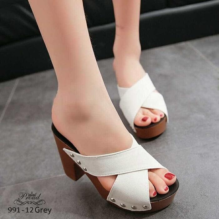 Harlee Store-Sepatu Wanita High Heels Silang Selop Sandal Heel HS-DR