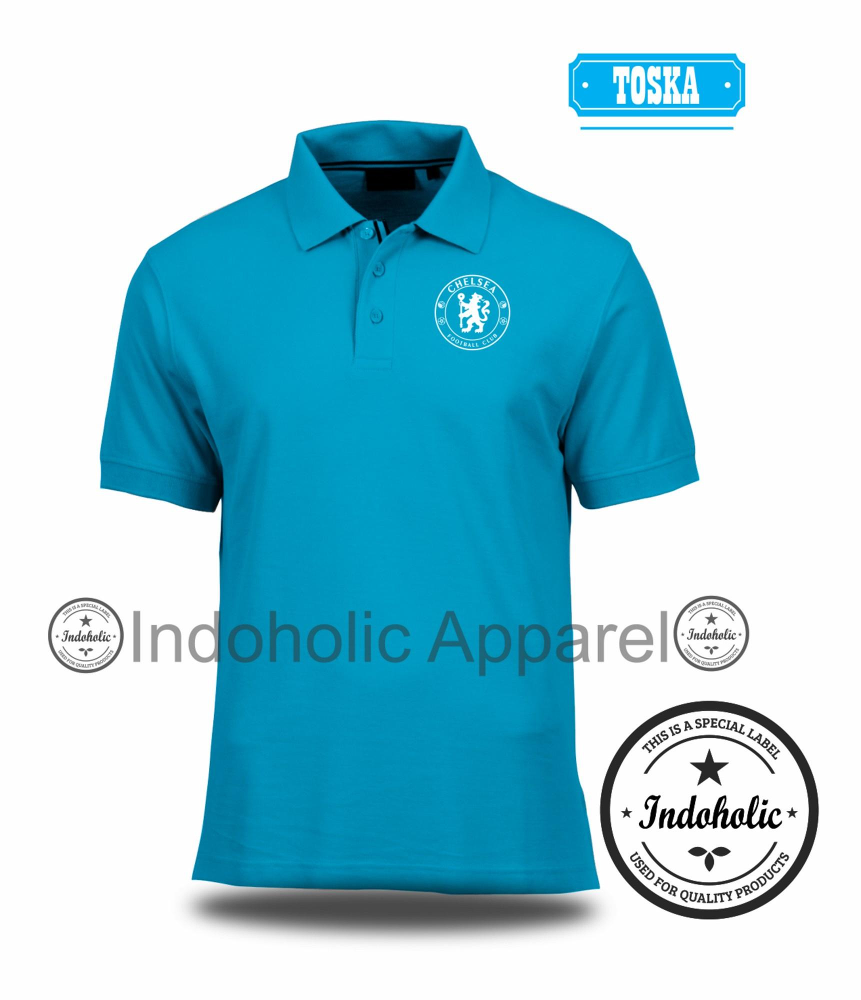 Polo Shirt Kaos Distro Football Club Liga Inggris England League klub sepak bola Chelsea  Branded T-Shirt Fashion Pria Wanita Cowok Cewek Baju T-Shirt Jakarta Bandung Terbaru Jaman Now Kekinian Atasan Pakaian Polos Pendek Kerah Berkera