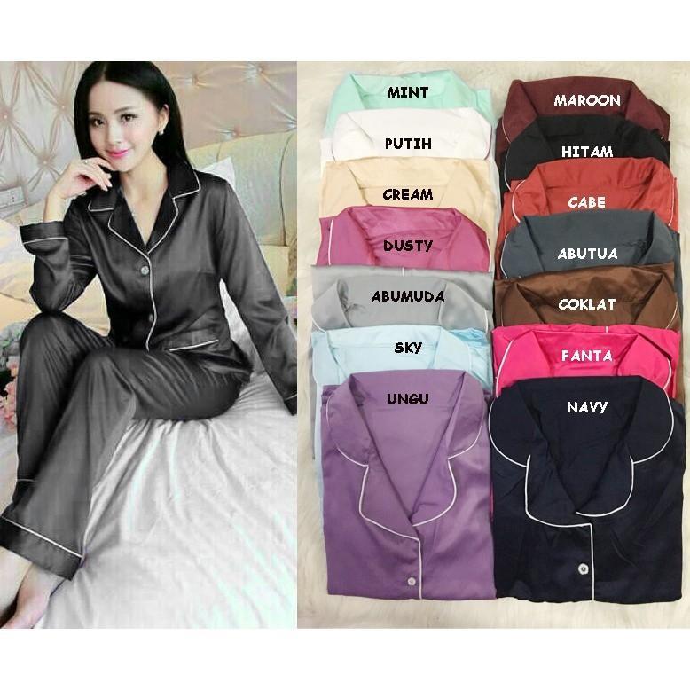 PIYAMA Pajamas Panjang Bahan Sateen Velvet Baju Celana Panjang