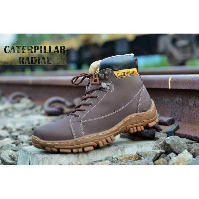Sepatu Caterpillar Safety Radial Warna Coklat Tua
