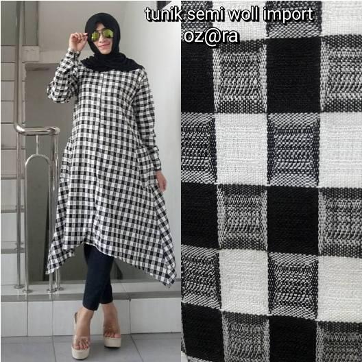 Baju Tunik Wanita Baju Atasan Import Tunik Semi Woll Import Black