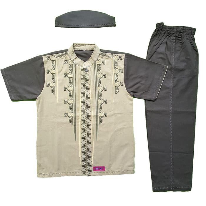 New Baju Muslim Koko Anak Laki-laki Stelan Setelan Pendek Set Peci AN 6-2 Promo