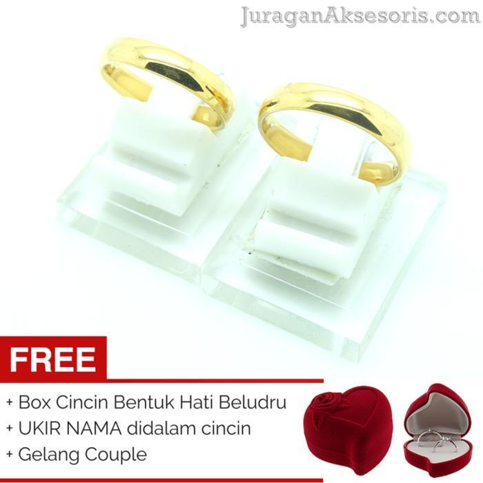 [UKIR NAMA + BOX HATI] Cincin Couple 111 + GELANG COUPLE (TERMURAH)