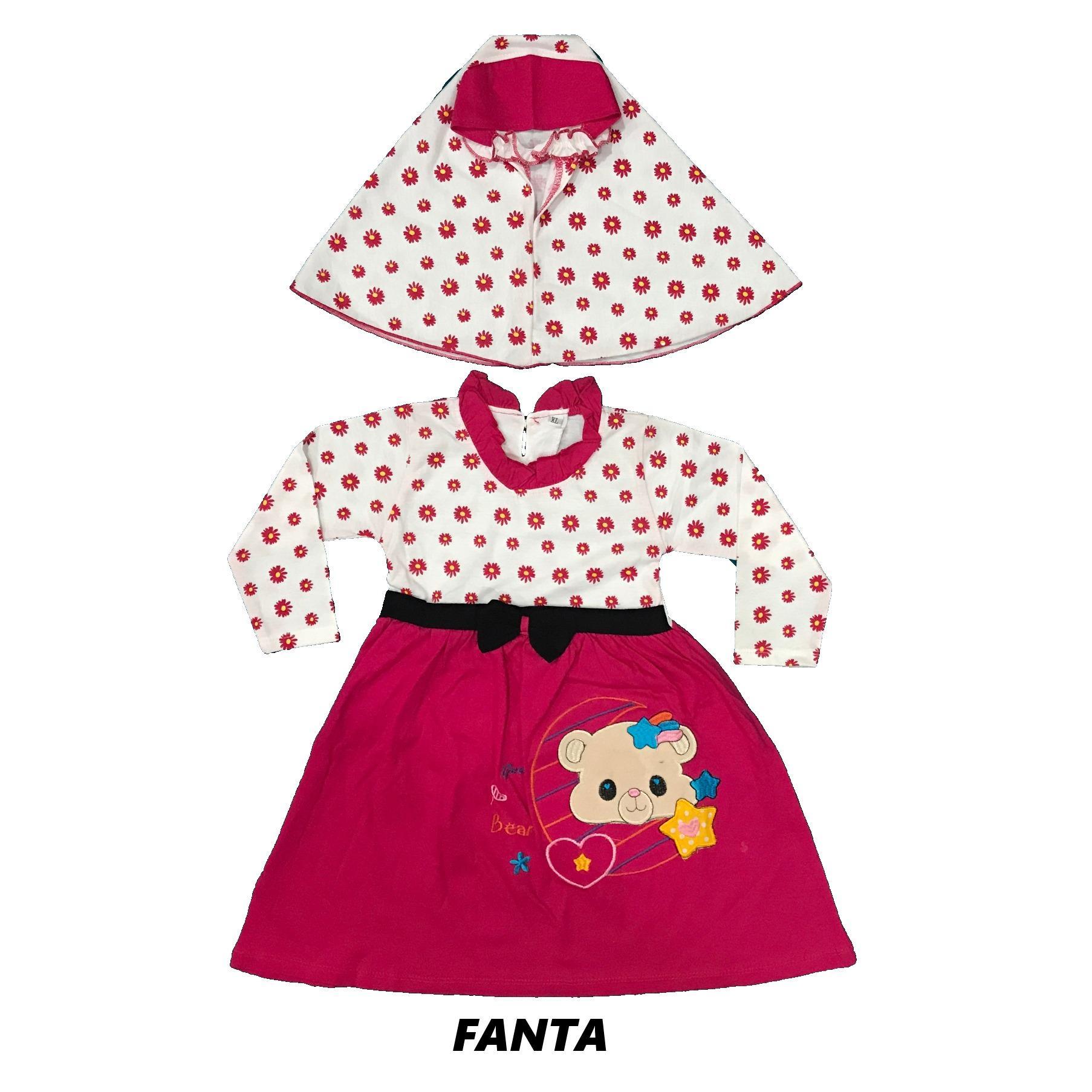 BAYIe - Baju Muslim Bayi Perempuan YUNISA motif BEAR / Gamis anak cewek umur 1 - 2,5 tahun