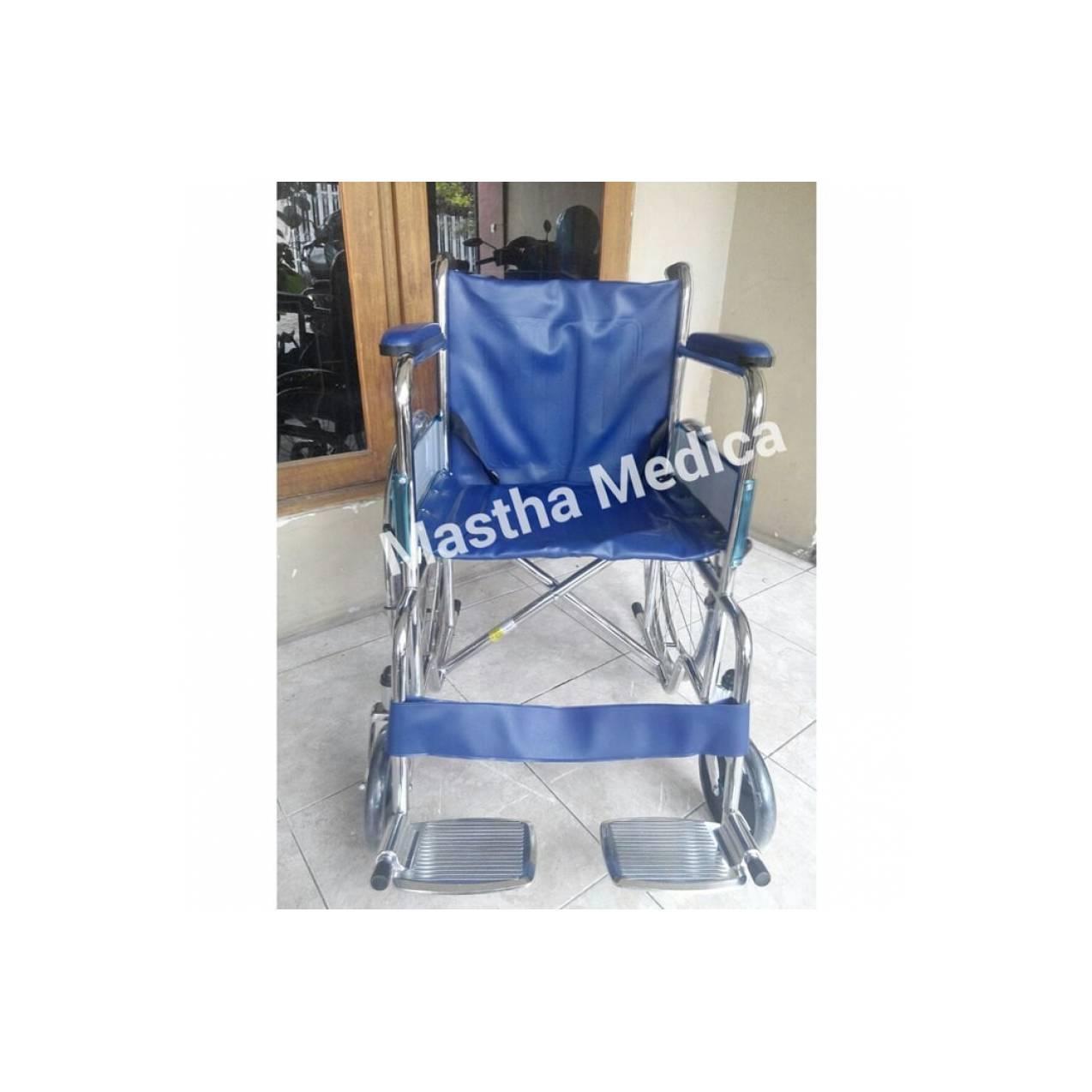 Kursi Roda Standart Rumah Sakit Kuat Murah + Rem Roda Avico Jok biru