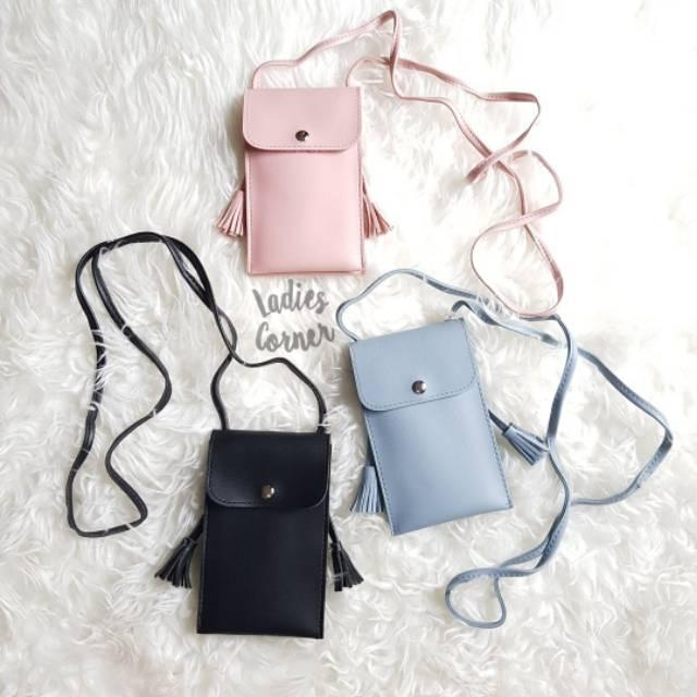 POUCH HP KULIT SELEMPANG LEATHER WITH TUSSEL SIDE DOMPET MINI HP MINISO JAPAN