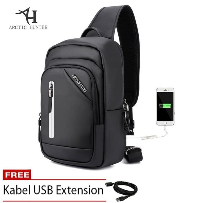Arctic Hunter Sling Bag Casual Cross body USB Charge Premium SB - Hitam