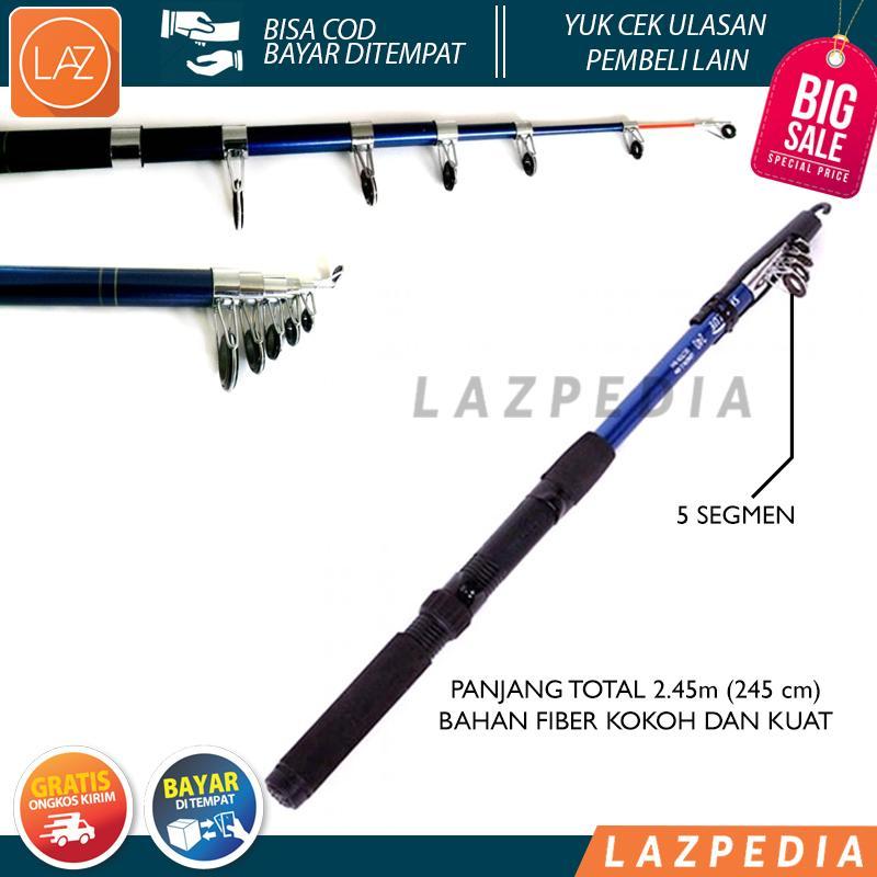 Laz COD - Joran Pancing Panjang Portable 245cm Fiber Glass Sea Fishing Rod 5 Segments 2.45M Alat Pancing / Hitam - Lazpedia