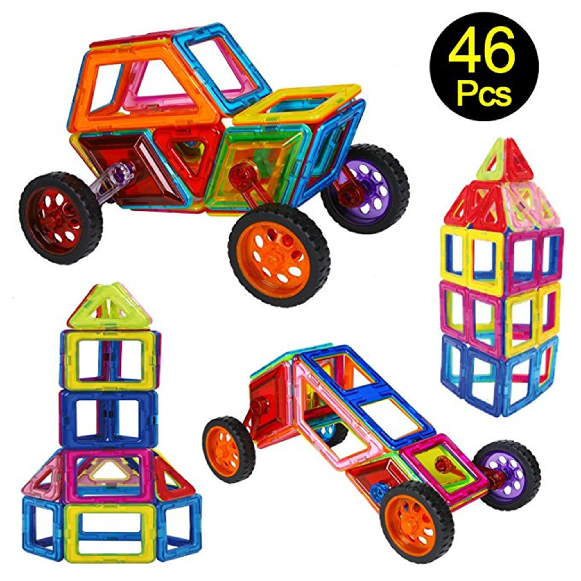 Blok Bangunan Magnetik Shimfun 46 piece Mainan Magnet Judul Bentuk Konstruksi Meja Mobil Set dengan Tas