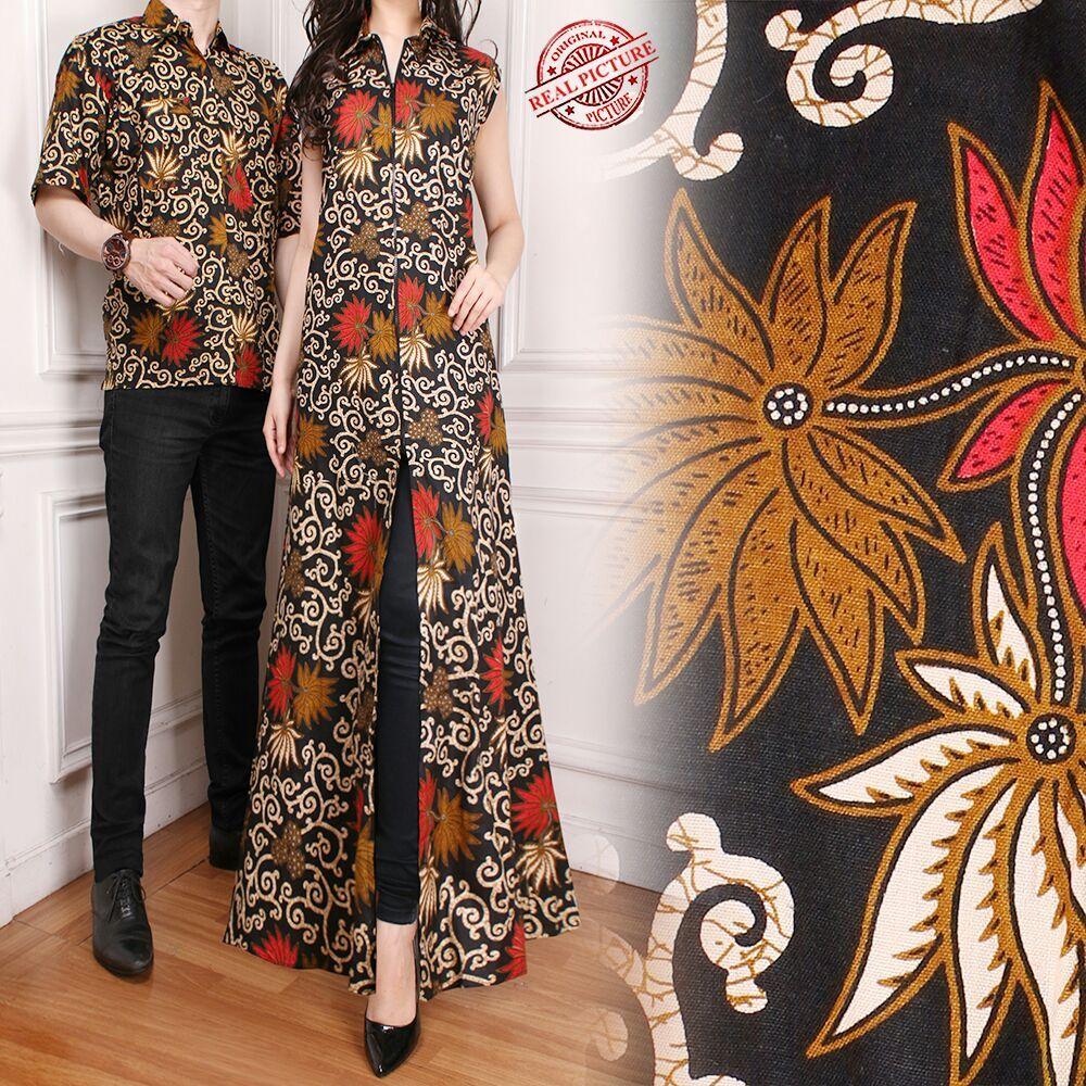 Glow fashion Couple Batik blazer 2in1 batik dress maxi panjang atasan blouse long tunik kemeja wanita long dress dan atasan kemeja pria shirt Katheri
