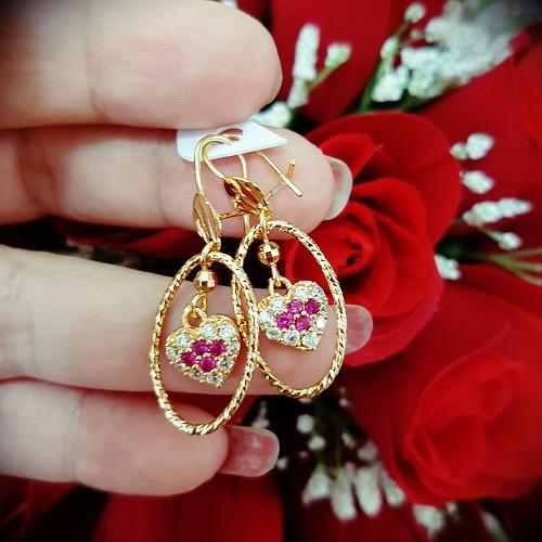 anting love cantik xuping gold bulat gantung