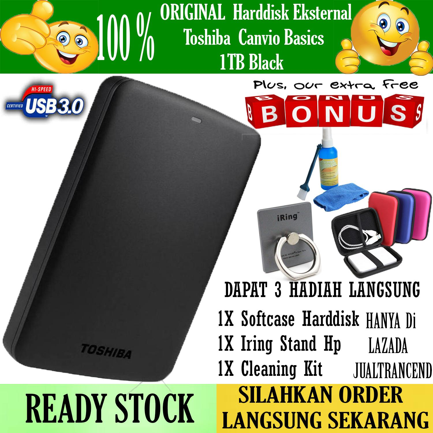 Promo!! Toshiba HDD External Canvio Basic USB 3.0 1 TB - Hitam + Gratis Case Harddisk + Iring Stand Hp + Cleaning Kit ( Pembersih PC & Notebook )