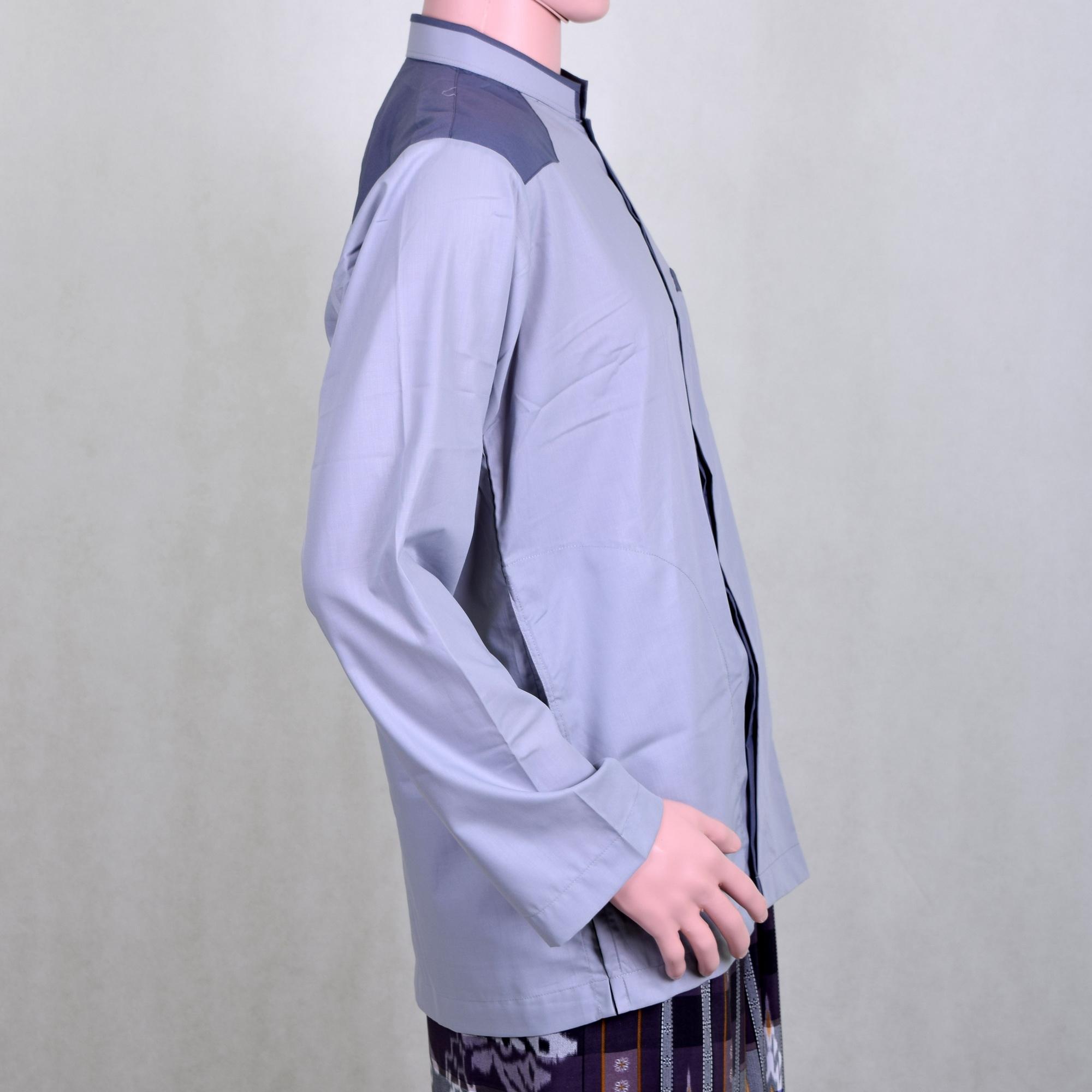 Cek Harga Baru Baju Koko Pria Abu Kombinasi Murah Berkualitas Lengan Panjang Abu2 Tua Keren Dan Berwibawa 4