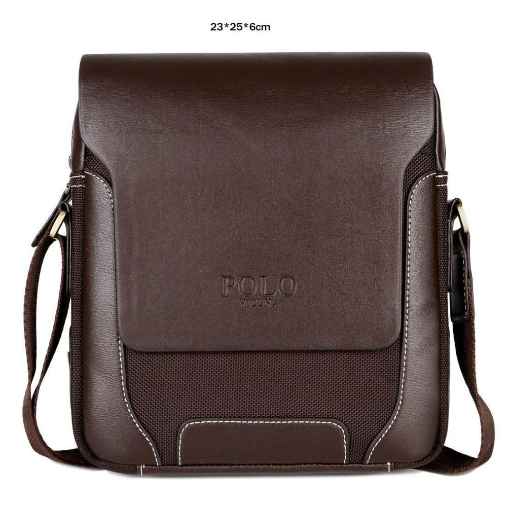 VICUNA POLO Solid Brand Men Crossbody Bag Male Casual Travel Simple Style  Leather Shoulder Bag Man 9266b18de524a