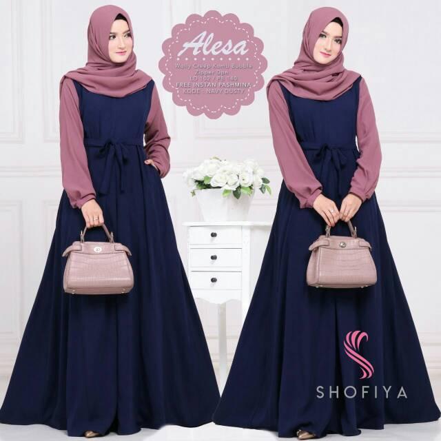 Busana Muslimah Alesha - Baju Gamis Syari Set Kerudung Ori by Shofiya