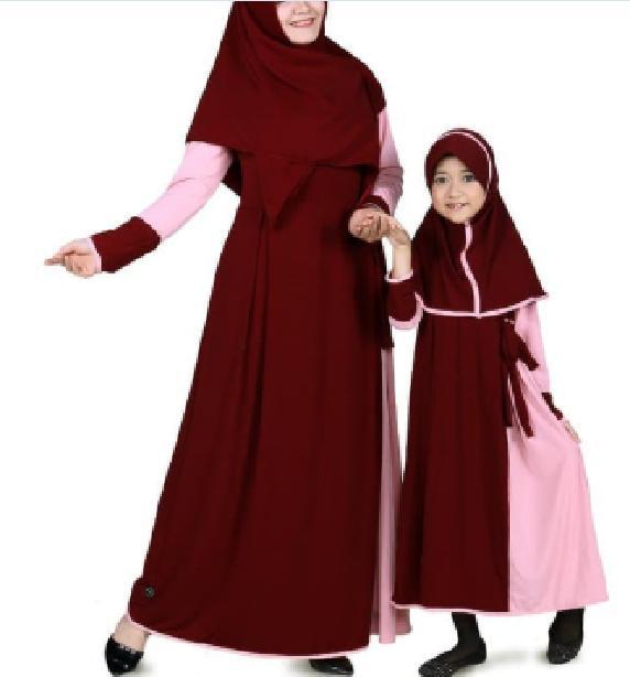 Baju Muslim Couple Ibu Anak Gamis Jersey - Marun CMJRN02