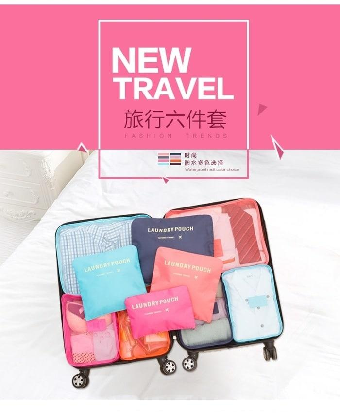 TRAVEL SET 6 IN 1 BAGS IN BAG ORGANIZER SECRET LAUNDRY POUCH TAS KOPER - R7xHrb