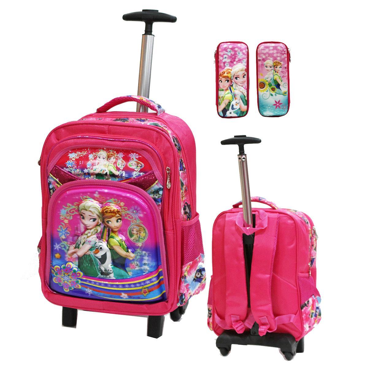 Onlan Tas Trolley SD Gagang Stainless Import Dan Kotak Pensil Karakter Anak Perempuan - Pink