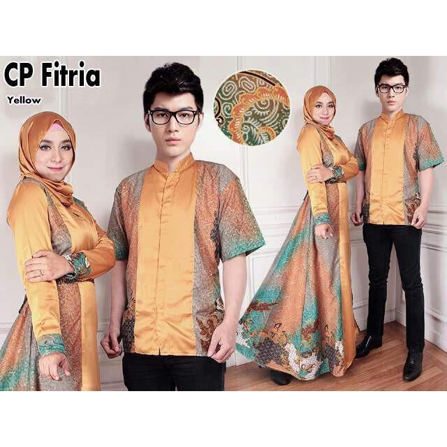 Couple Batik Muslim- Sarimbit Couple- Batik Couple Gamis Gold Fitria