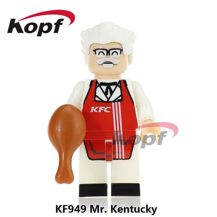 BEST SELLER!!! KFC KF949 Mr Kentucky Fried Chicken Fast Food Custom Brick Minifigure - M9y0lG